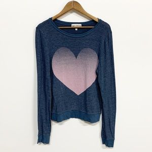 Wildfox | Dark Gray Pink Heart Jumper Sweatshirt M